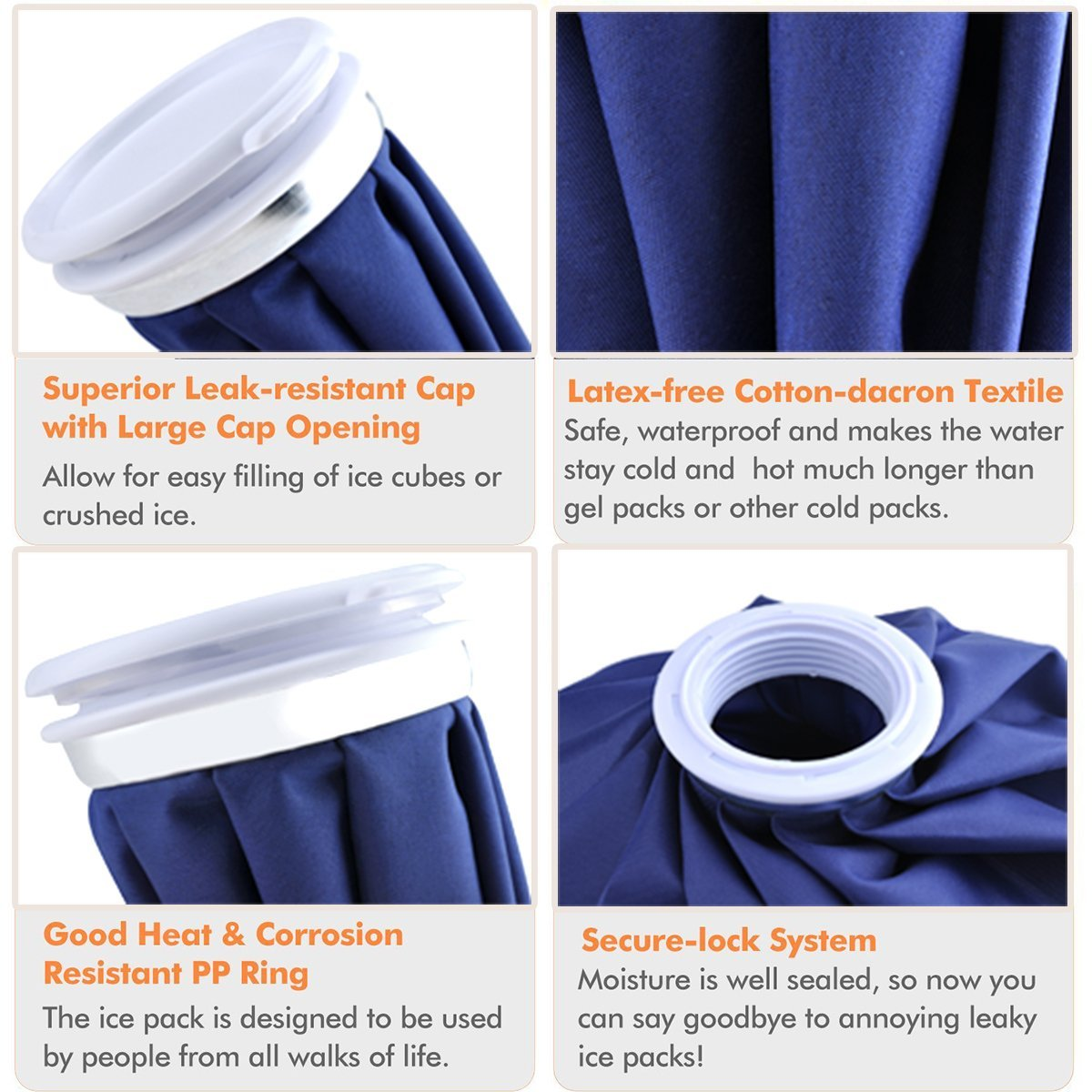 Reusable Ice Bag Hot Cold Therapy Pain Relief Injury First Aid Pack Blue