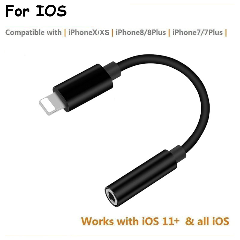 separation shoes 88620 56127 Details about 3.5mm For Apple iPhone XS 8 7 Plus Earphone Audio Jack Aux  Cable Adapter IOS 11+