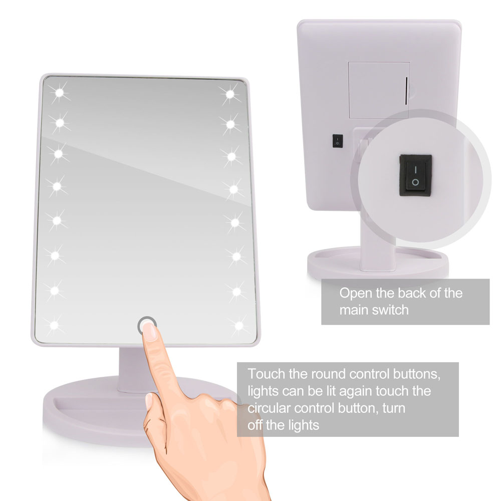 Portable Makeup Mirror 16 LED Lights Vanity Lighted Make-up Cosmetic Mirror  US