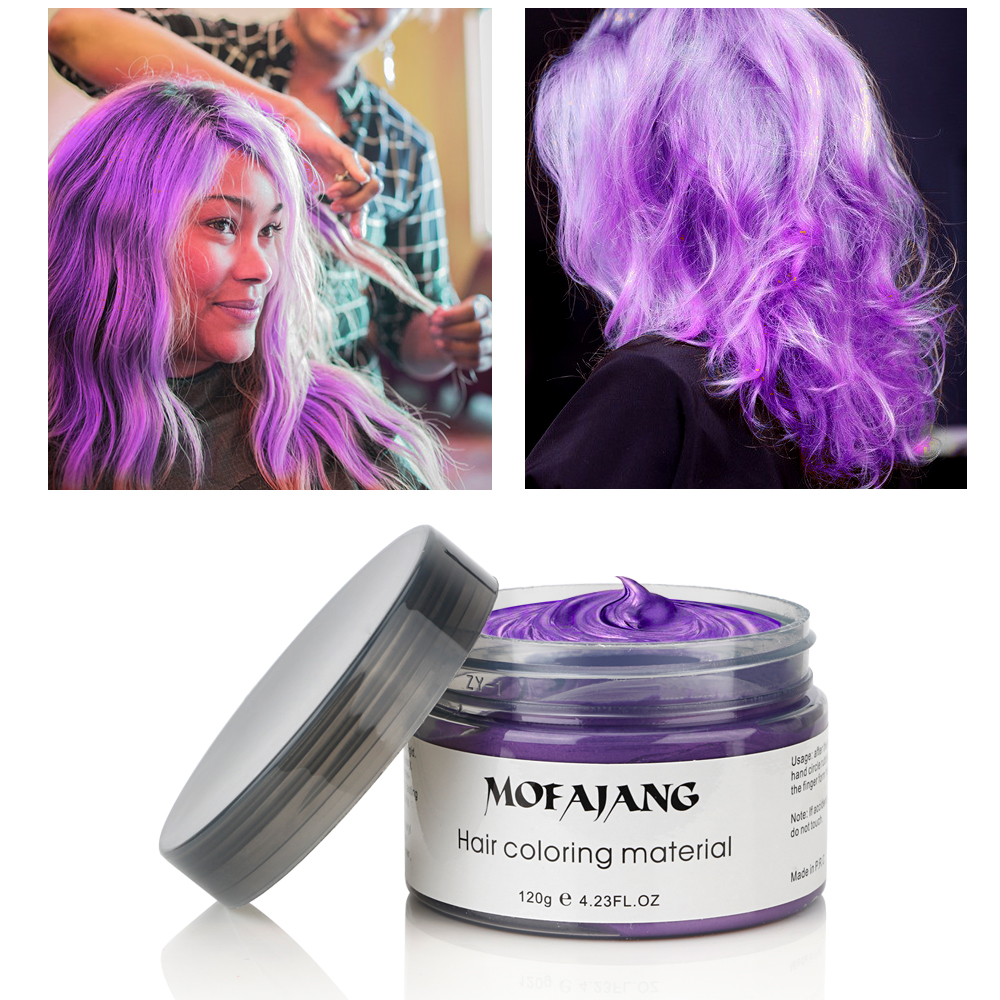 120g Mofajang Purple Unisex Hair Color Mud Wax Dye Molding Paste