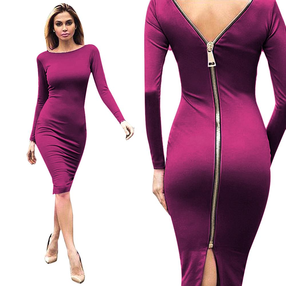 Women Zip-Behind Evening Party Club Dress Bodycon Long Sleeve Plus ...