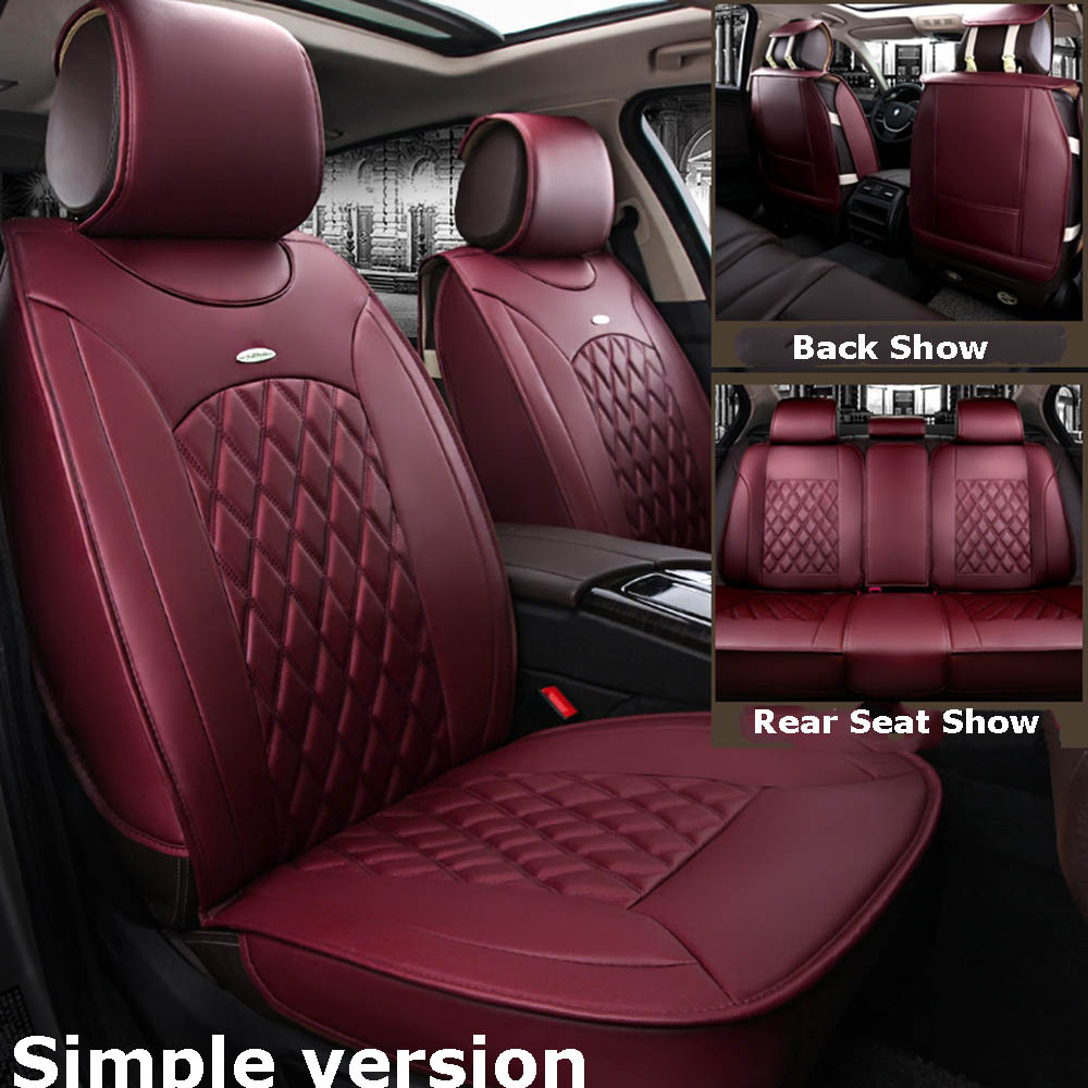 Wondrous Details About Standard Wine Red Car Leather Seat Covers For Hyundai Elantra Sonata Kia Optima Caraccident5 Cool Chair Designs And Ideas Caraccident5Info
