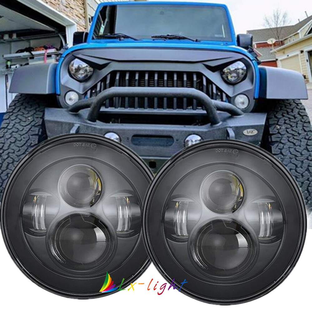 """Pair 7"""" 90W Led Projector Headlight Headlamp H4-H13 For Jeep Wrangler Hummer  H2"""
