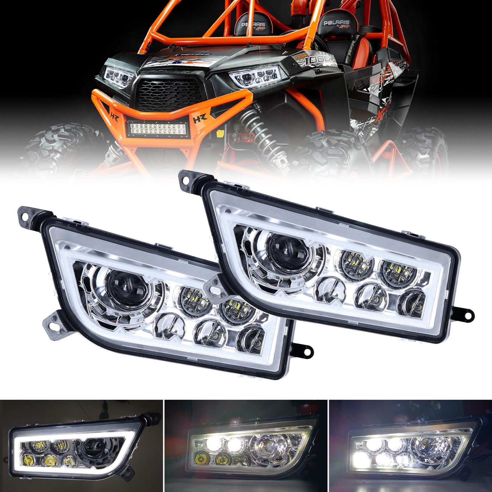 SOYAVISION 2Pcs Black LED Headlight Kit High//Low Beam for Polaris Sportsman Ranger RZR XP 900 ATV Off Road Headlamps