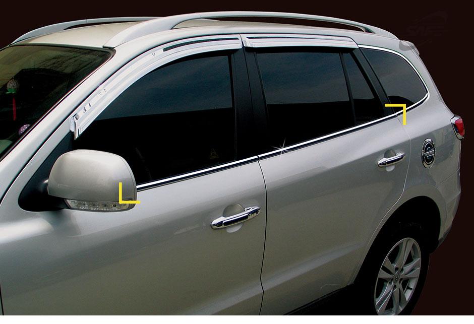 Stainless Steel Chrome Window Under Trim Molding 4P For HYUNDAI 06-12 Santa Fe