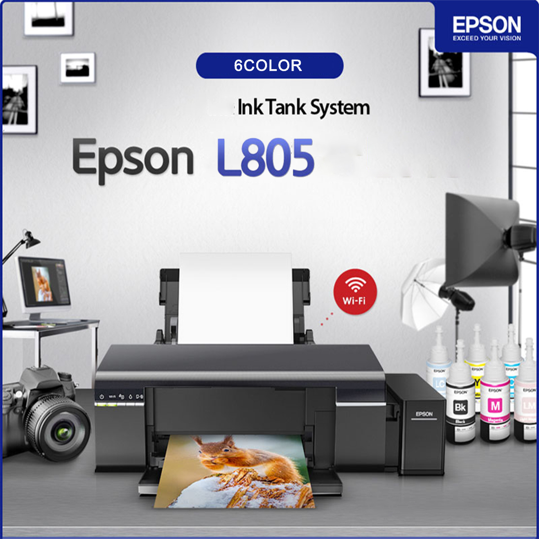 Details about EPSON L805 6-Color Wireless Inkjet Photo Printer Ink Tank  Continue Wi-Fi Support
