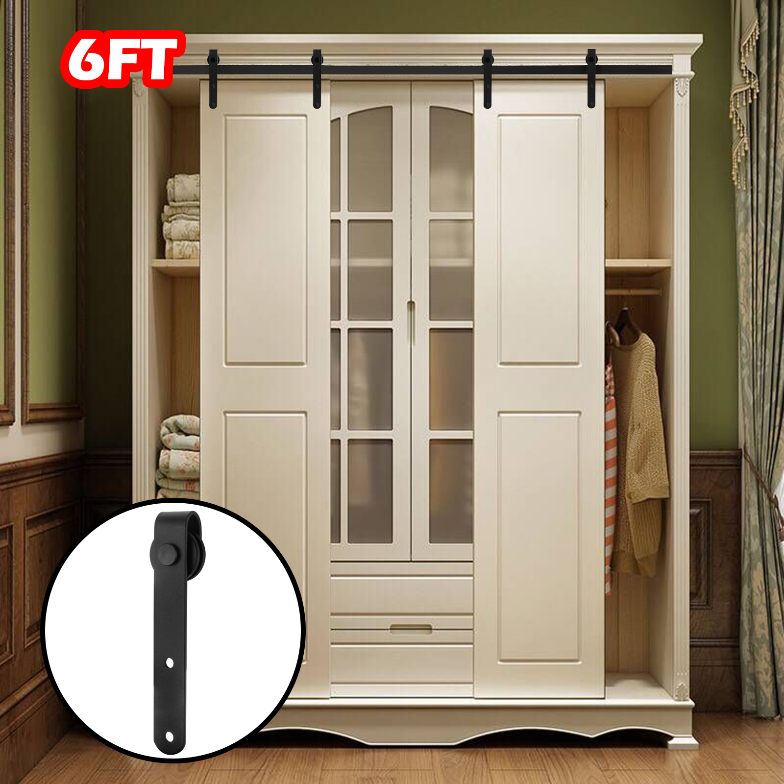 FR Space-Saving 6 FT Modern Door Hardware Closet Set Antique Style Sliding Track Iron Closet Track Kit Bypass Wood Roller Color: Black