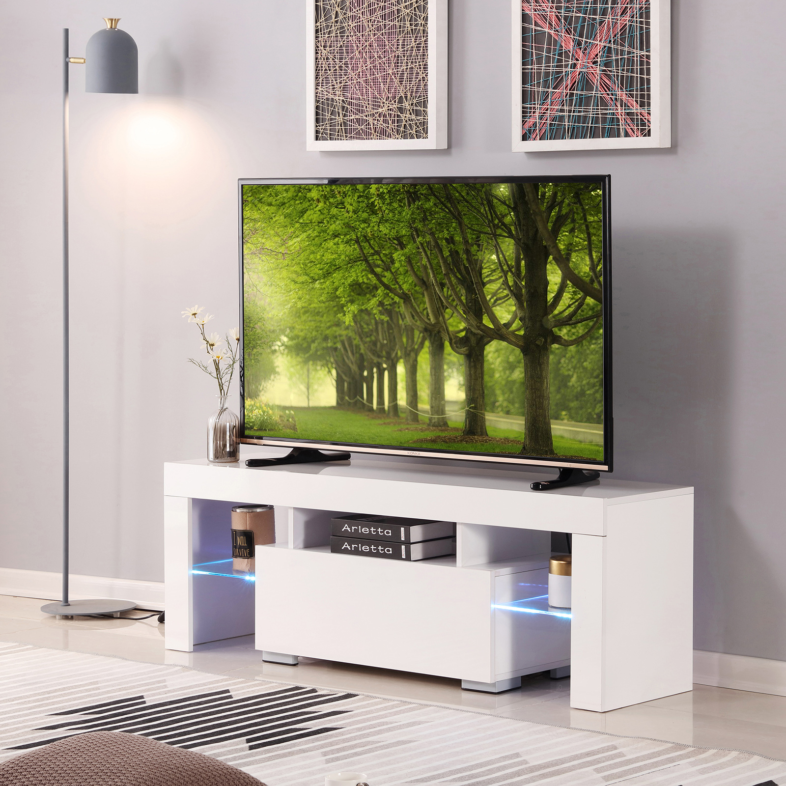 Details About 51 Long Gloss Tv Stands White Entertainment Units Cabinet Furniture Led Light