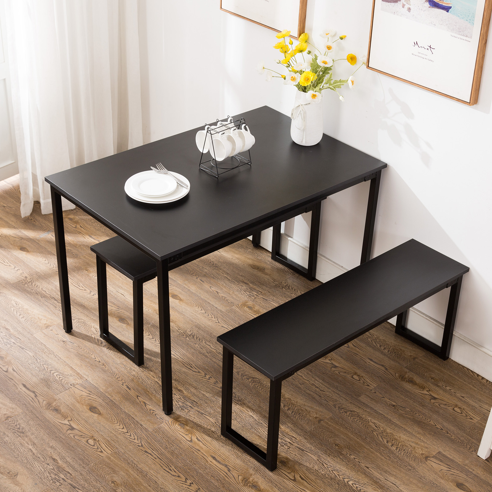 Details about 3 Piece Dining Table Set 2 Chairs Bench Kitchen Dining Room  Breakfast Nook Black