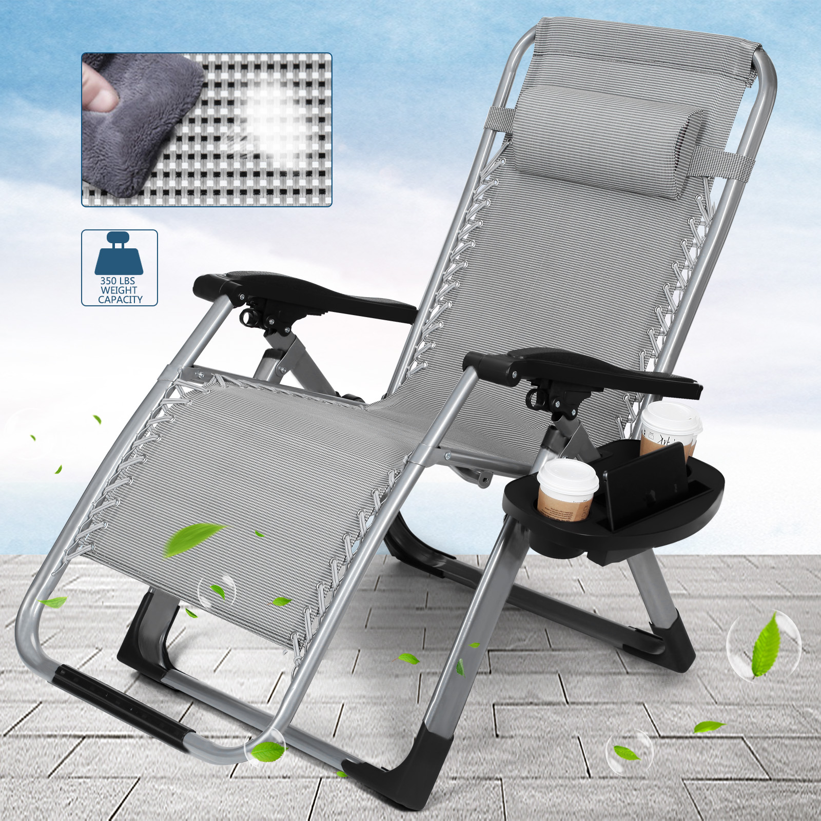 Pleasing Details About Portable Zero Gravity Chair Folding Recliner Camping Chair W Tray Headrest Gift Forskolin Free Trial Chair Design Images Forskolin Free Trialorg