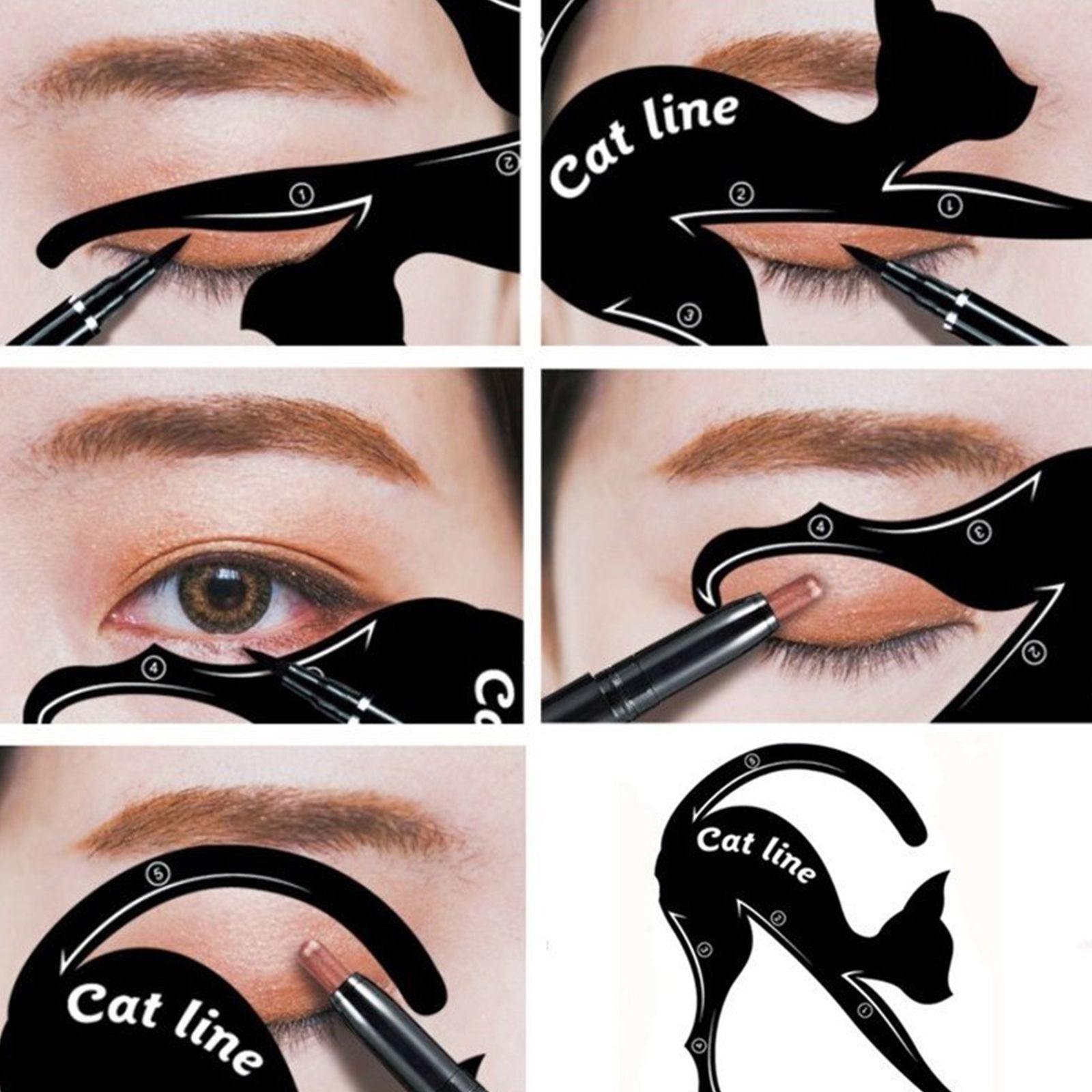 1 Pair Eyeliner Stencil Models Makeup Beauty Cat Eye Line Template