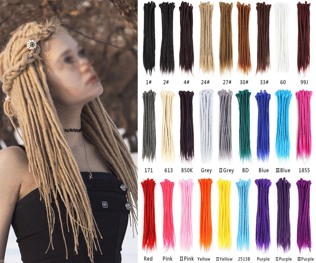 20 Long Crochet Dreadlocks Synthetic Braids Hair Extensions Single