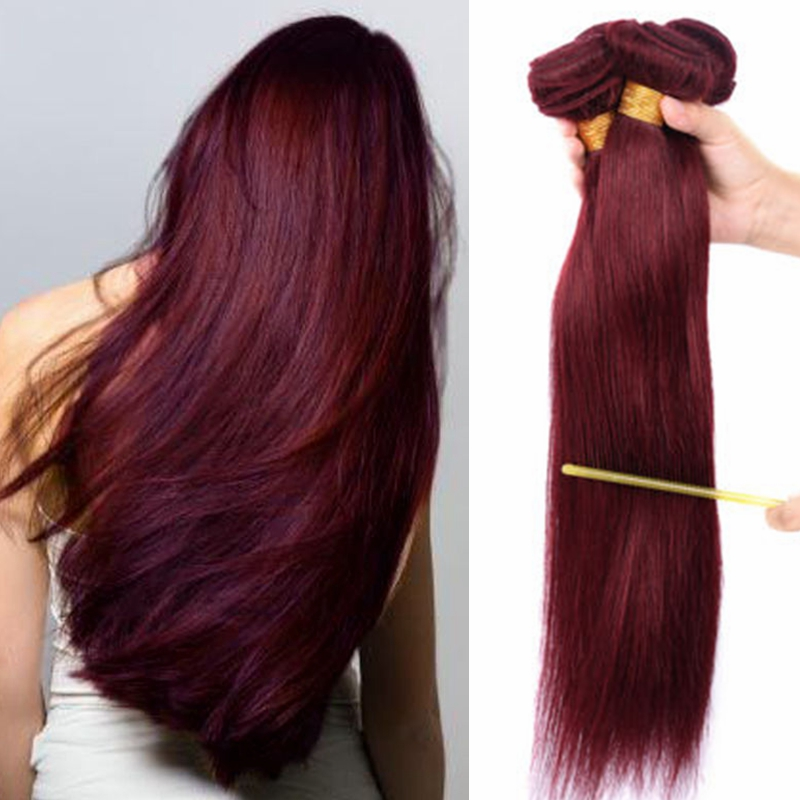 4 Bundles Wine Red Burgundy 99j Straight Brazilian Virgin Human