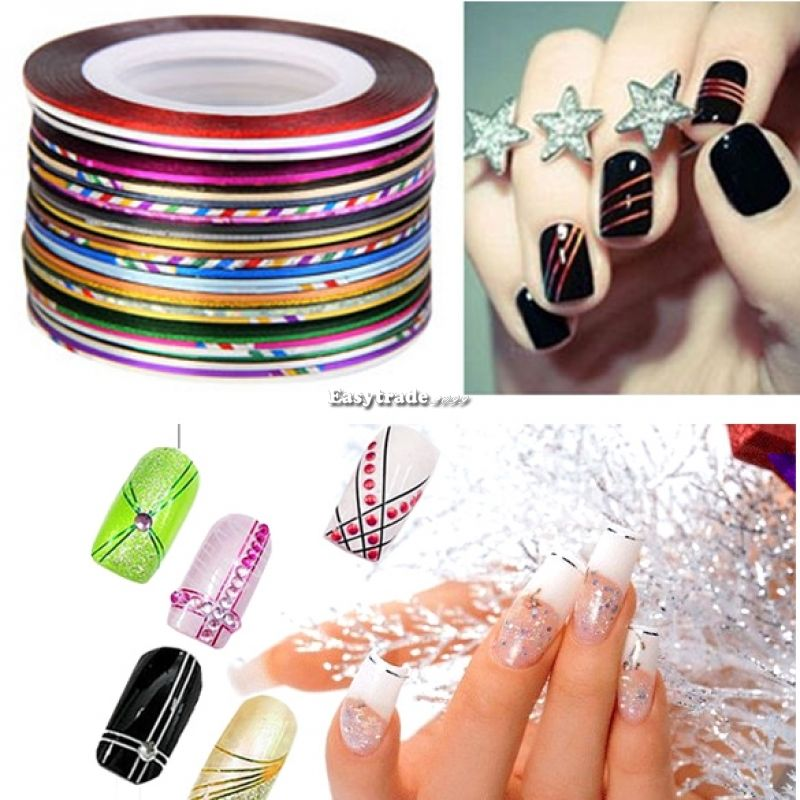 Nail Art Tape Strips: 30Pcs Mix Colour Rolls Nail Art Tape Line Strips Nails