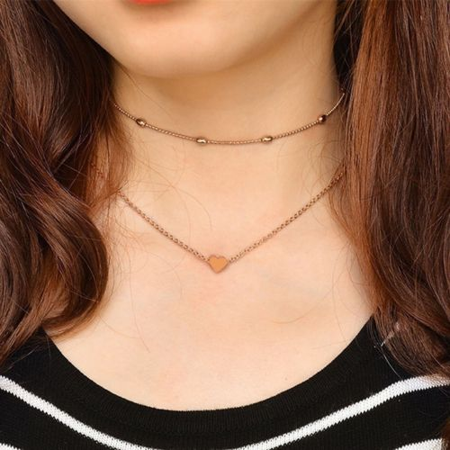 BOHO-SILVER-GOLD-TONE-BEADED-HEART-TWO-PART-CHOKER-NECKLACE