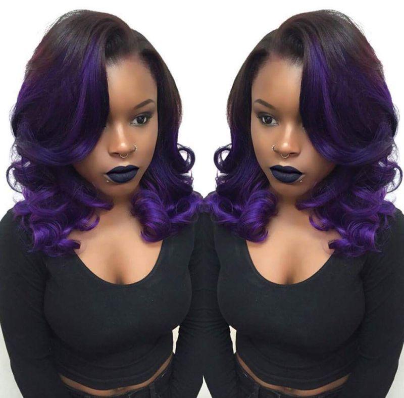 1 3 Bundles Body Wave Black Ombre Purple Remy Human Hair Extensions