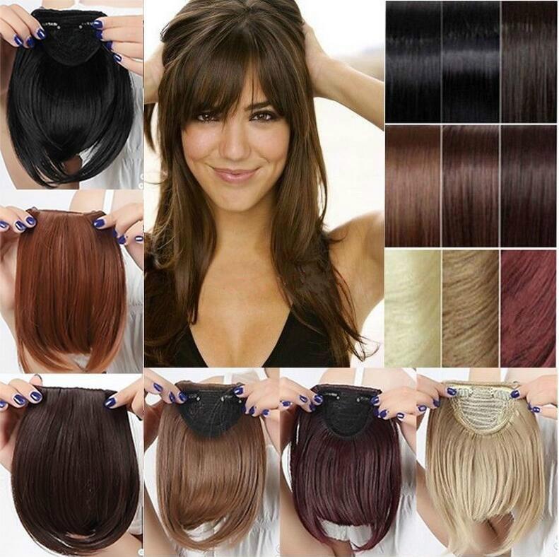 Real Natural Hair Extension Clip In Front Hair Bangs Fringe Human