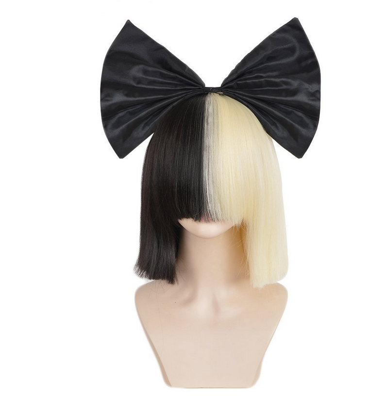 Ladies Wigs Short Blonde Black Straight Wig Bow Sia Cosplay Costume Party