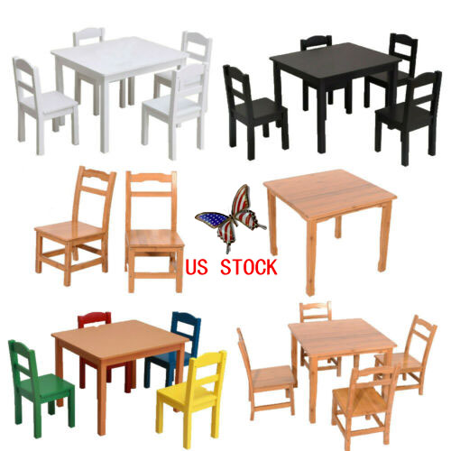 Details about Kids Table And 4 Chairs Set Play Desk Wooden Bedroom  Furniture School Study Desk