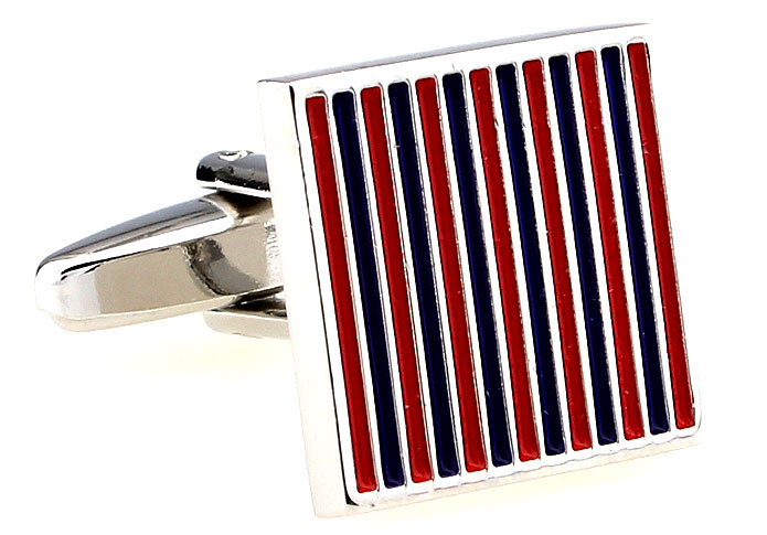 Purple//Red//Blue Stripes Rectangle Cufflinks Wedding Groom Shirt Cuff Links