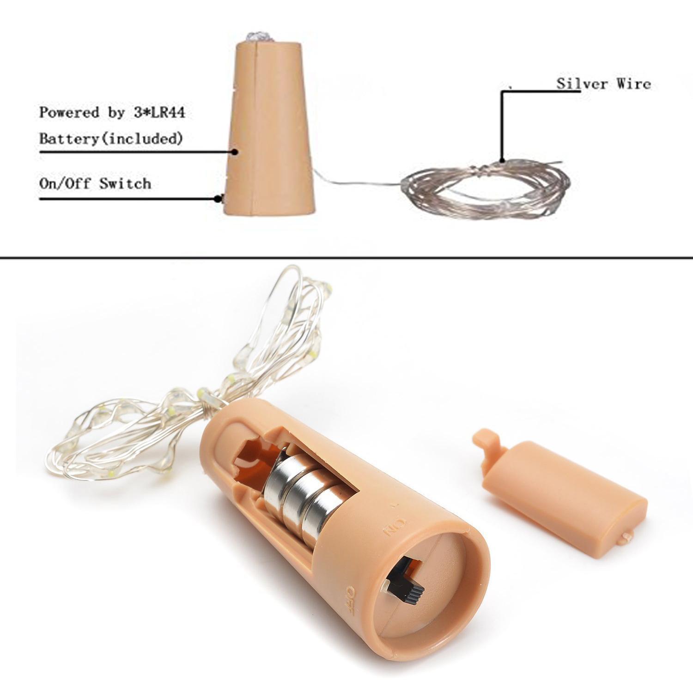 6 Weinflasche Kork Lichterkette LED Silber Coated Kupferdraht ...