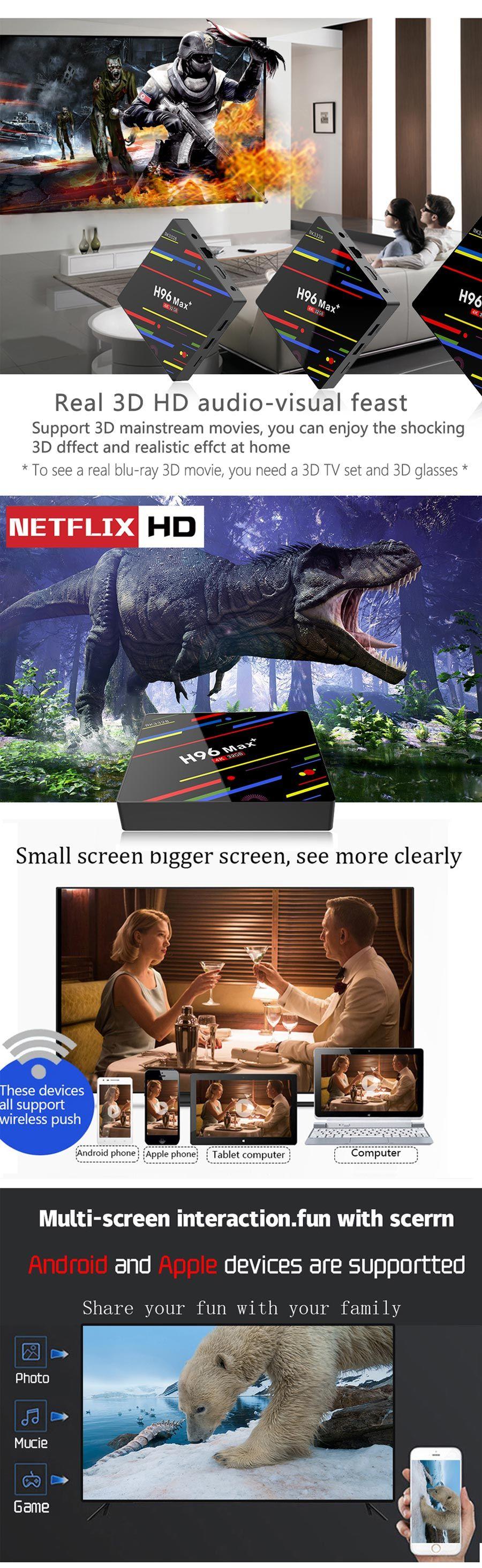 h96 max plus android 8.1 smart tv box 4gb 32/64gb 4k wifi voice