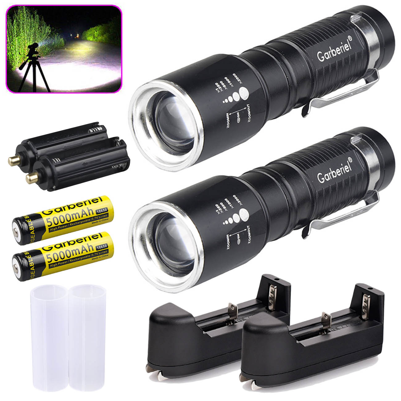 Outdoor Zoomable Tactical 50000LM T6 LED Flashlight 18650 Torch Lamp Charger