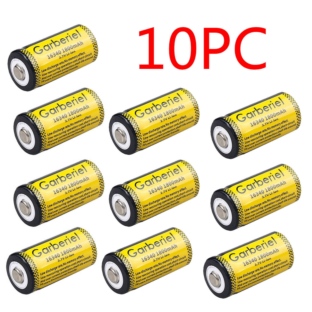 Garberiel 3.7V CR123A 123A CR123 16340 1800Mah Rechargeable Battery+Charger Lot