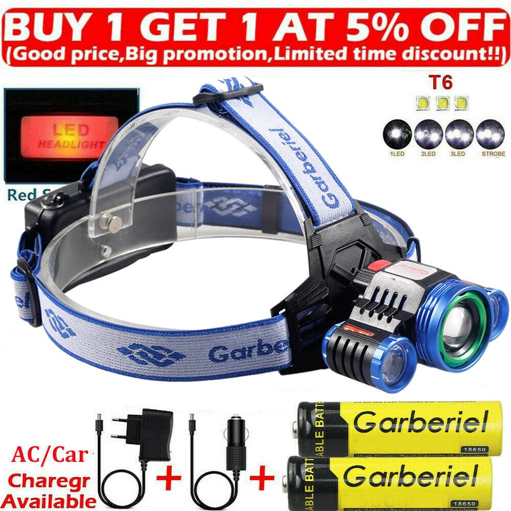 10000 Lumens LED 2X XML T6 AAA//AA//18650 Headlamp Headlight Flashlight Head Torch