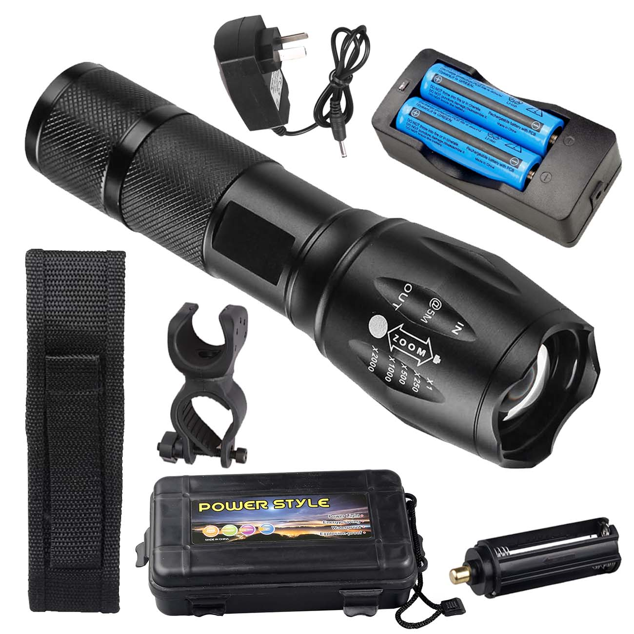 2* Ultrafire Tactical T6 LED Torch 350000LM Flashlight 18650 Battery Charger Set