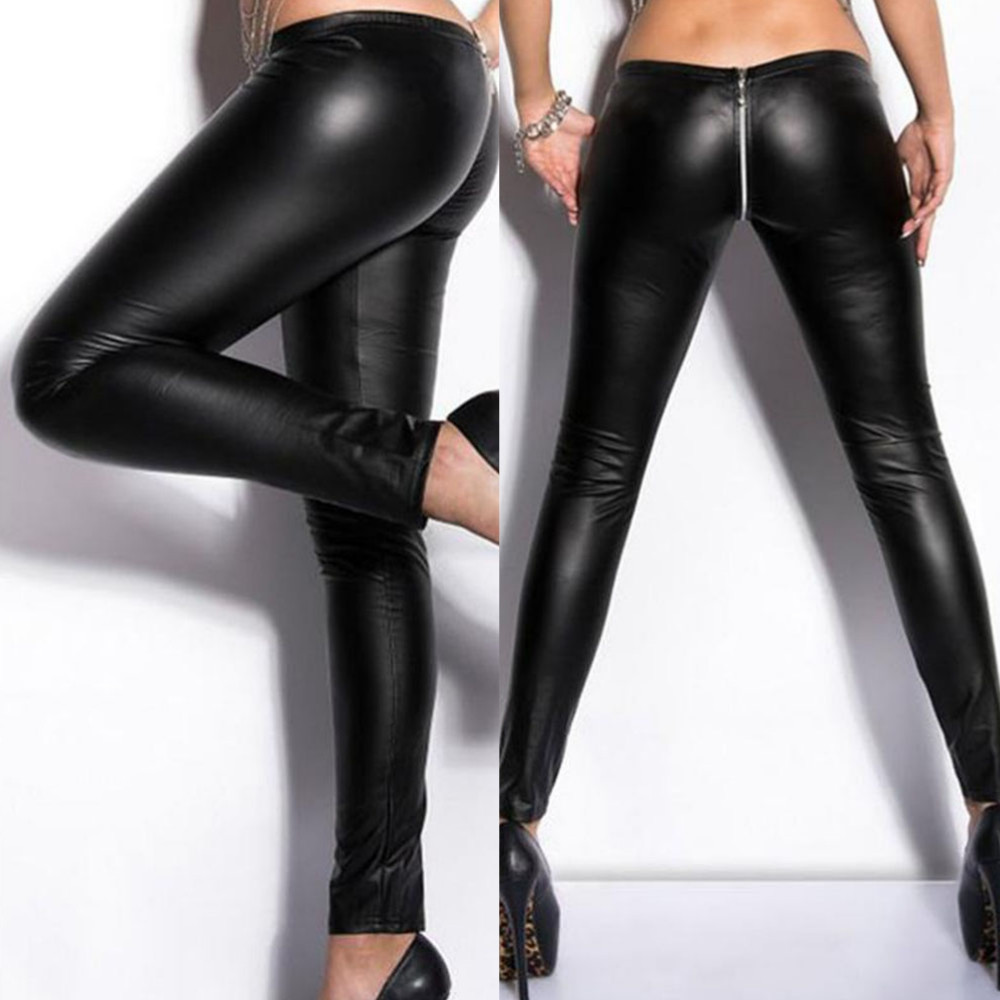 129c7ed8898c2 Details about Black New Pants Women Sexy Zipper Vinyl Leather Wet Look  Clubwear Party Leggings