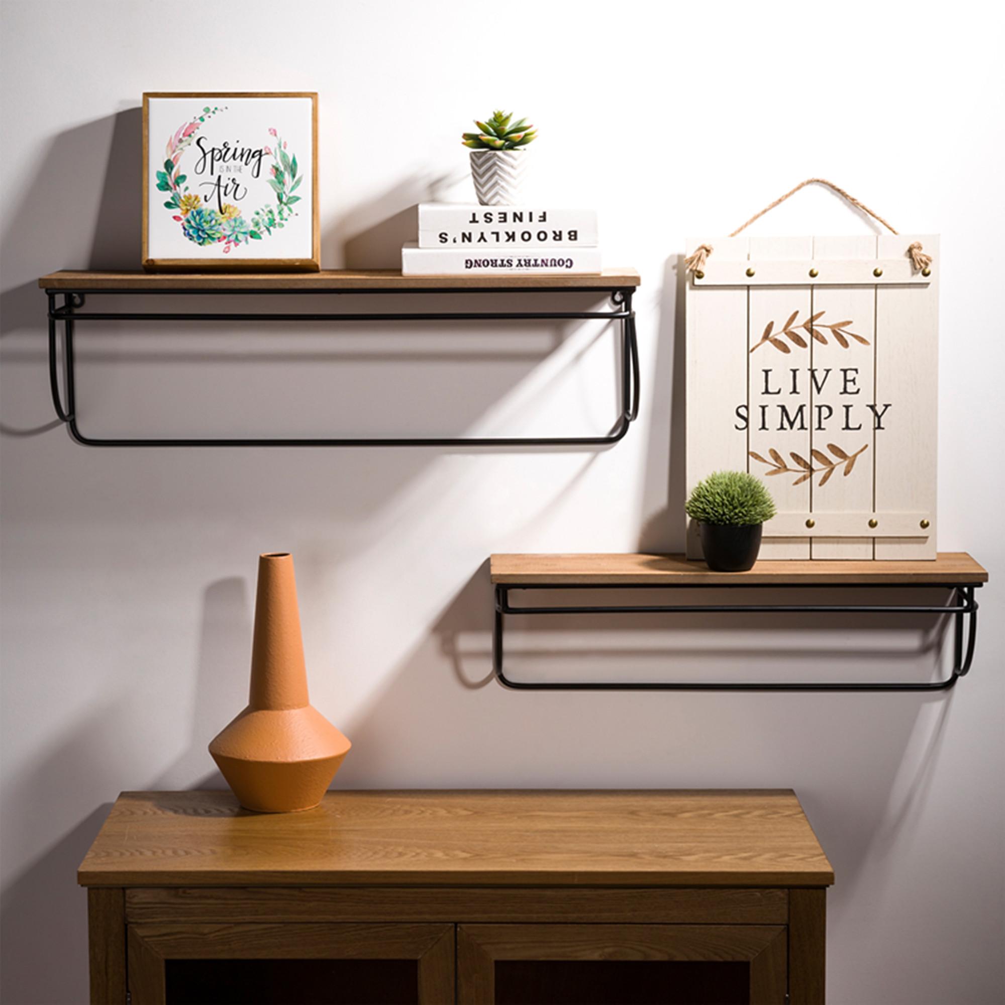 Details about Glitzhome 2PCS Floating Wall Shelves Rustic Wood Display  Shelf Living Room Decor