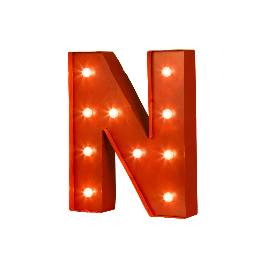 Details About Glitzhome Vintage Marquee Led Lighted Red Letter N Sign Battery Operated Decor