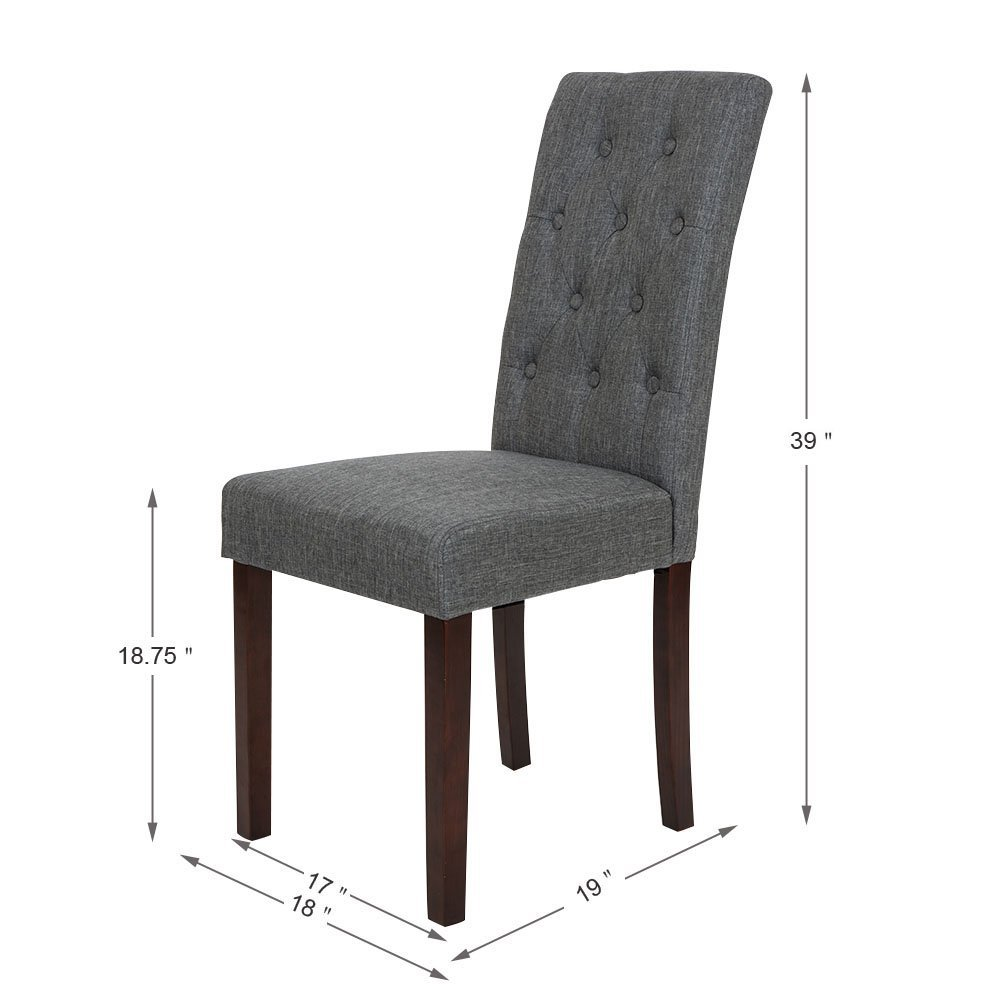tufted back dining chair. Glitzhome Christmas Fabric Dining Chairs With Tufted Back Dark Gray, Set Of Two Chair
