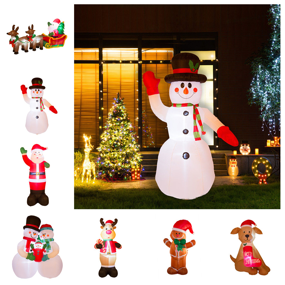 image is loading glitzhome 8ft xmas santa snowman lighted inflatable airblown