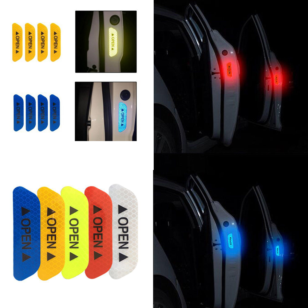 4pcs Car Safety Reflective Tape Sticker Door Open Warning Stickers Reflector UK