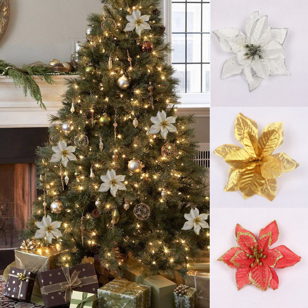 Christmas Tree Artificial.Details About 10 X Christmas Tree Artificial Glitter Flowers For Xmas Tree Decor Wedding Party