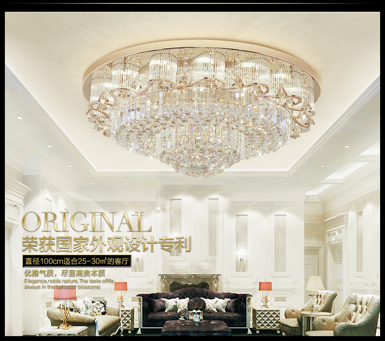 Modern fashion round chandeliers led flush mount k9 crystal ceiling image is loading modern fashion round chandeliers led flush mount k9 aloadofball Gallery
