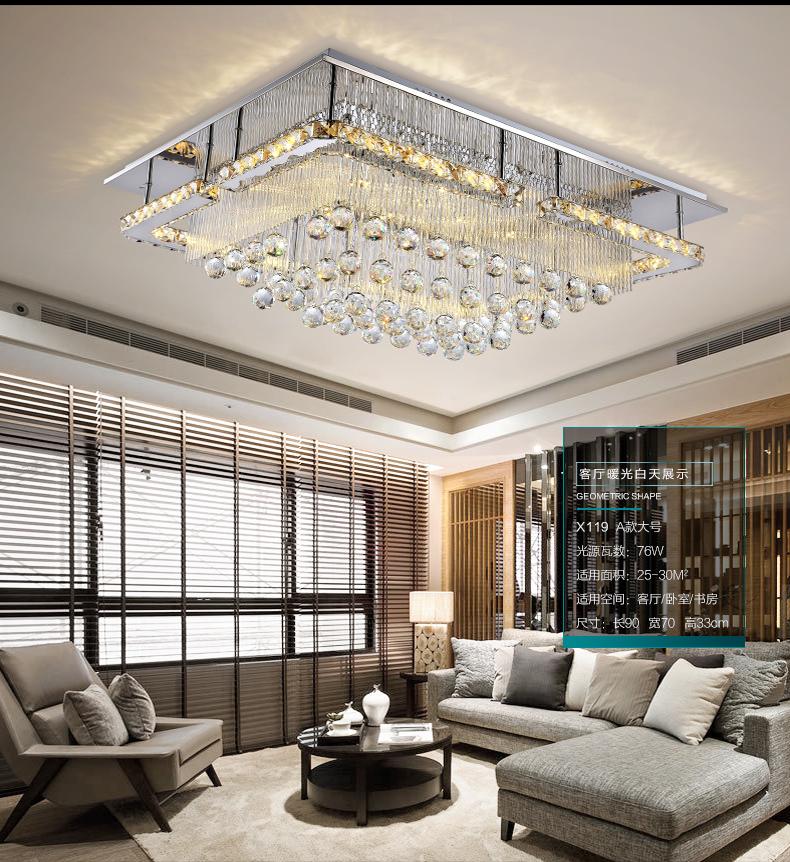 Rectangular LED K9 Crystal Light Living Room Ceiling Fixture Lighting  Chandelier