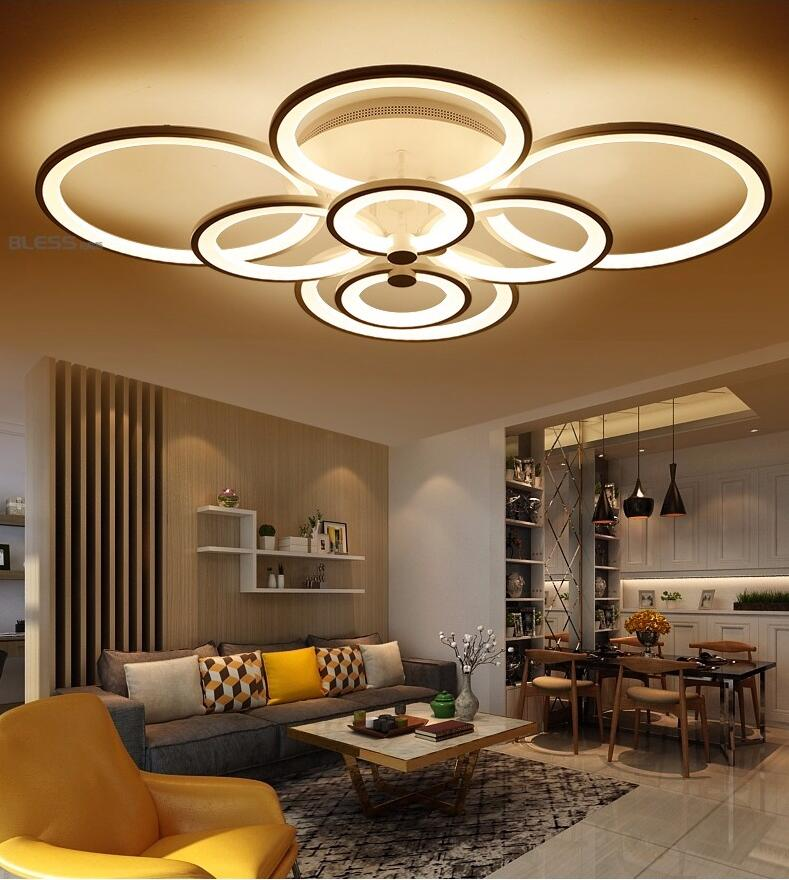 Light Filled Contemporary Living Rooms: Remote Control Living Room Bedroom Modern Ceiling Lights