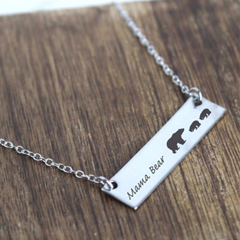 Gold Silver Mama Bear Necklace Family Mother Son Daughter Jewelry ...