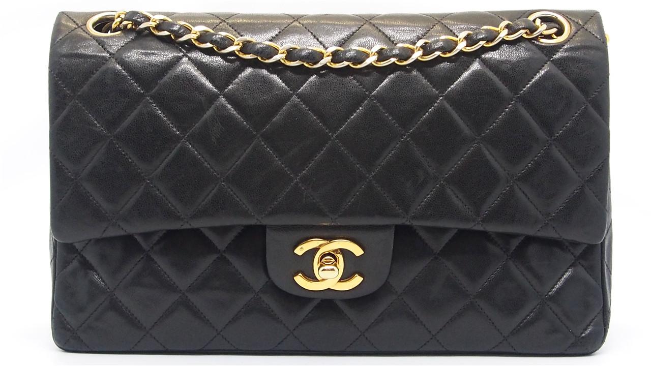 Authentic CHANEL Black Quilted Lambskin Medium Double Flap Chain Bag  18023537CK 7d391e128d810
