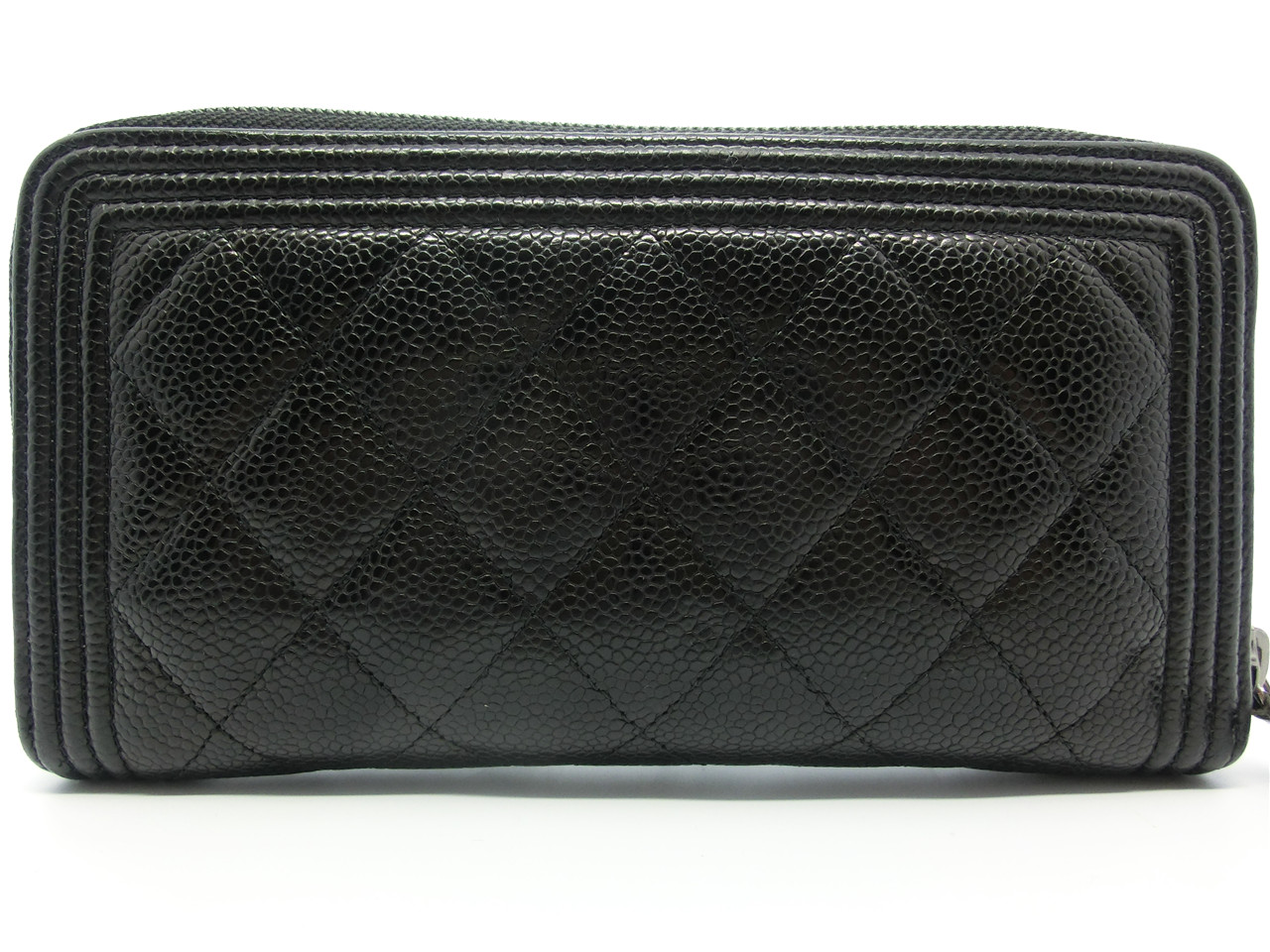 e47779a7a17f33 AUTHENTIC BOY CHANEL Black Quilted Caviar Leather Zip Around Wallet  17031391CK