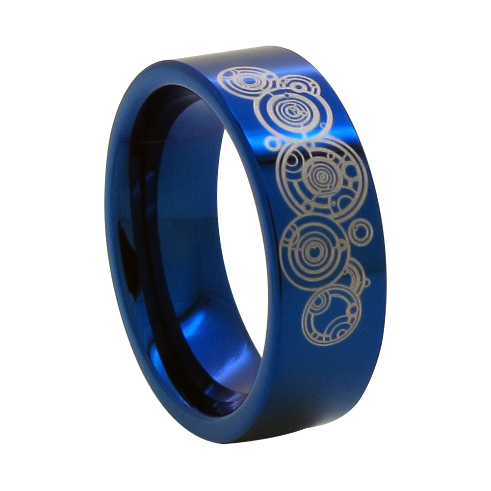8mm Blue Tungsten Ring W Time Lord Symbol Doctor Who Ebay