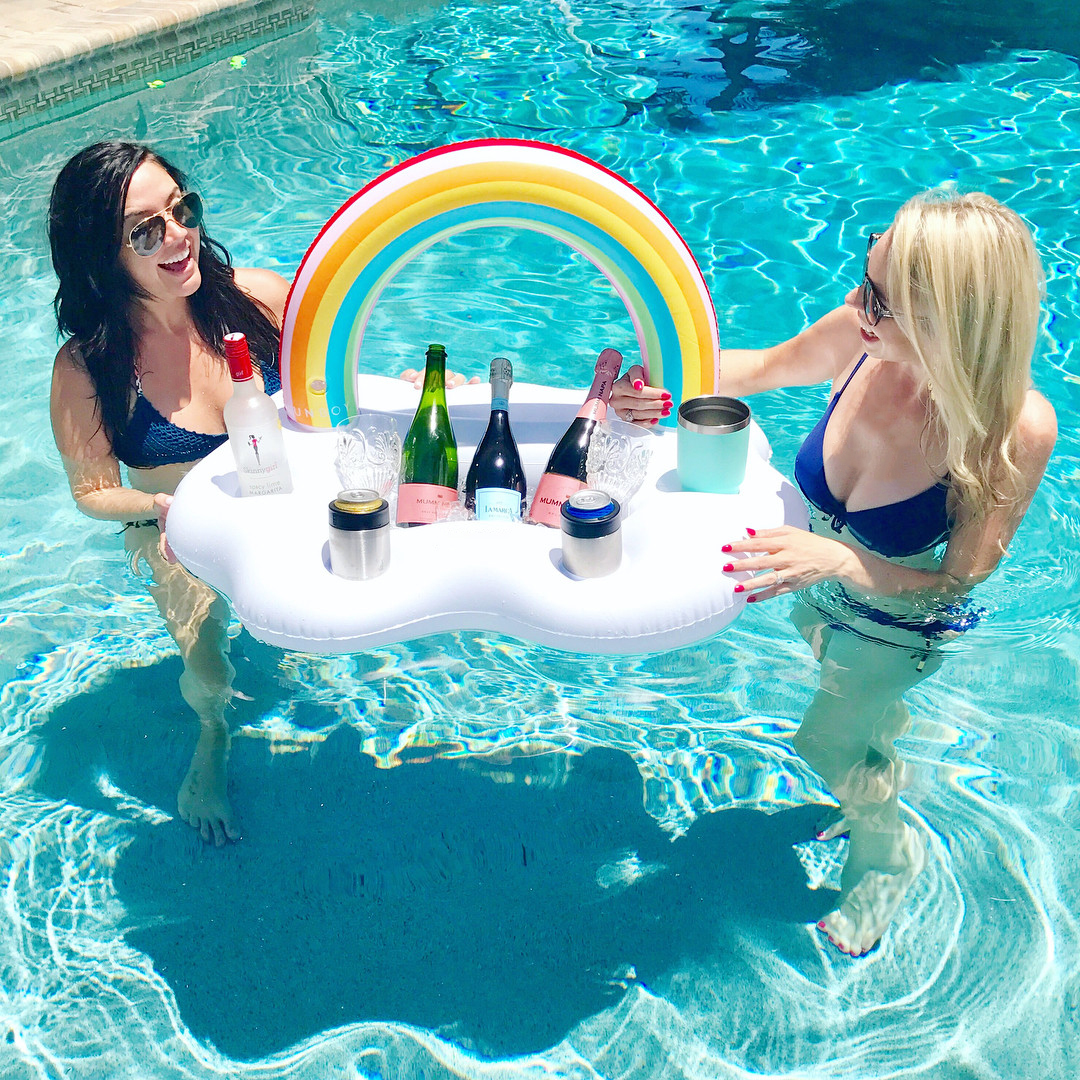 Inflatable Rainbow Cloud Floating Drink Holder Hot Tub Swimming Pool ...