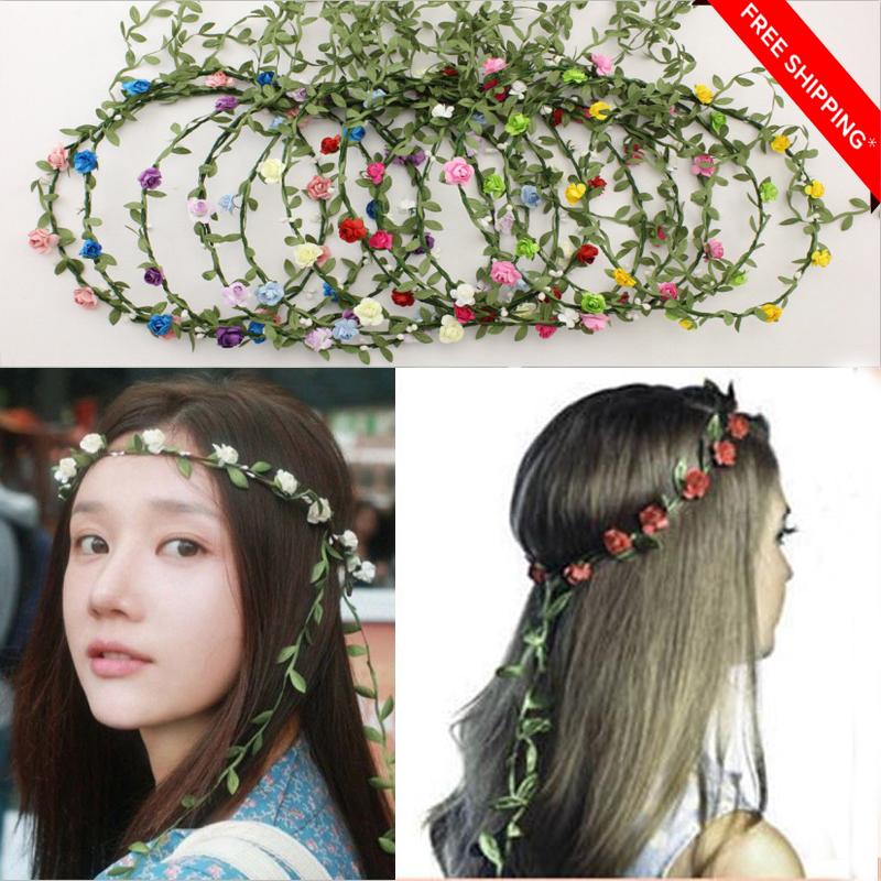 Floral Rose Flower Girl Wedding Fairy Party  Costume Wreath Hairband Headband