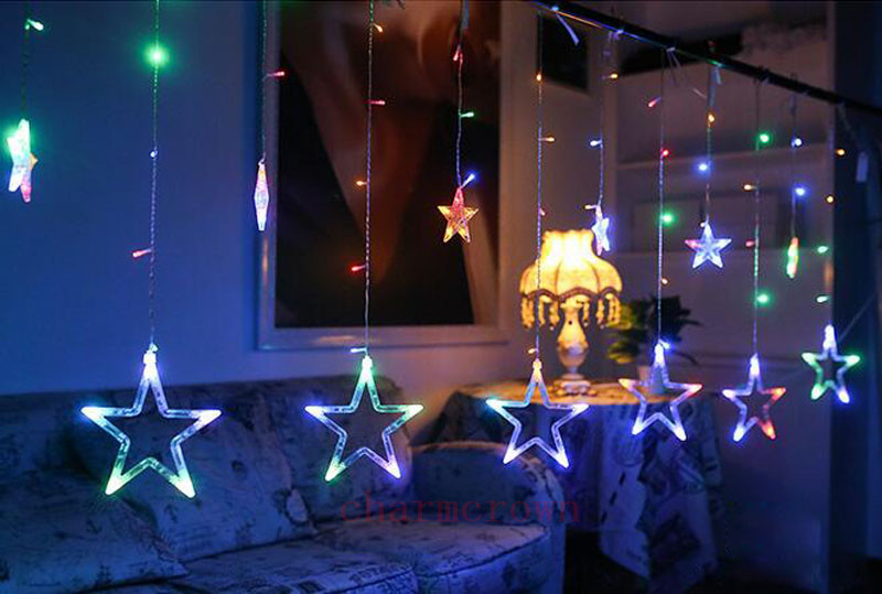 12 funkeln stern 48led lichterkette hochzeit fenster deko weihnachts lichter neu ebay. Black Bedroom Furniture Sets. Home Design Ideas
