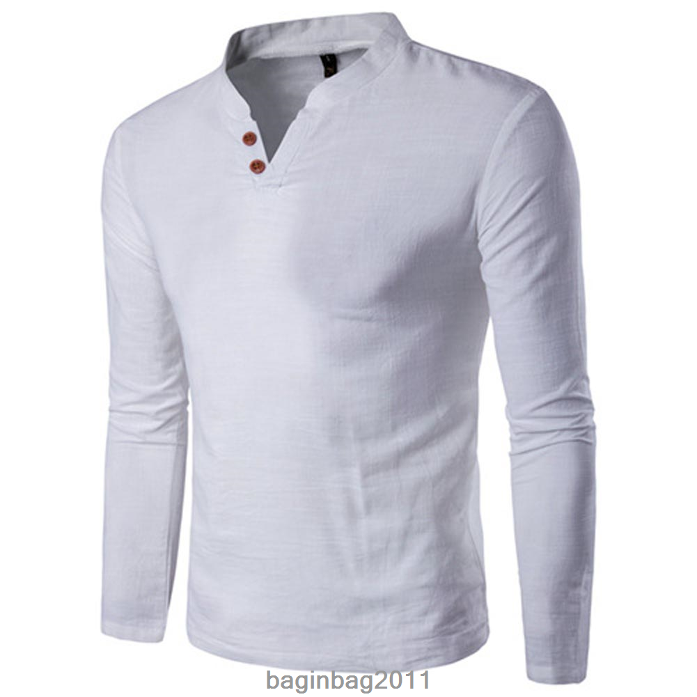 Men/'s Slim Fit Sartorial Long Sleeve Cotton Tee V-neck Top Summer Casual T-Shirt