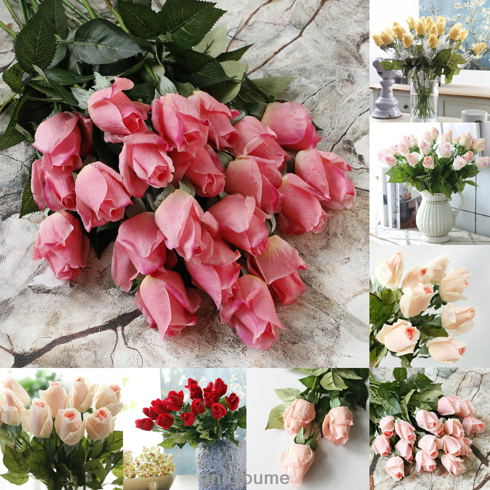 Real Touch Latex Rose Flowers Buds 10/20 Heads DIY Wedding Bouquet ...