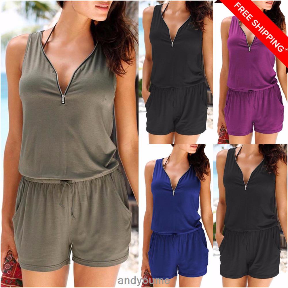Womens Zip Neck Pocket Playsuit Ladies Summer Shorts Jumpsuit Plus Size 6-24 New